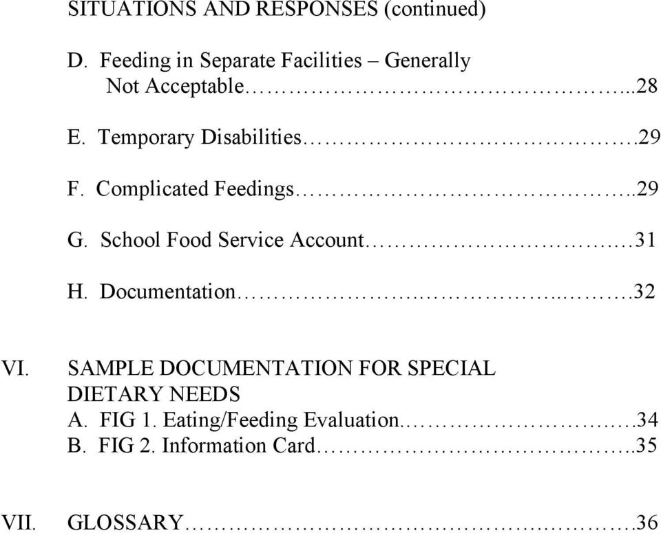 29 F. Complicated Feedings..29 G. School Food Service Account. 31 H. Documentation....32 VI.