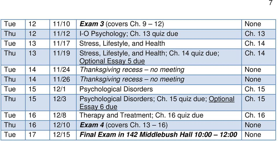 14 Optional Essay 5 due Tue 14 11/24 Thanksgiving recess no meeting None Thu 14 11/26 Thanksgiving recess no meeting None Tue 15 12/1 Psychological