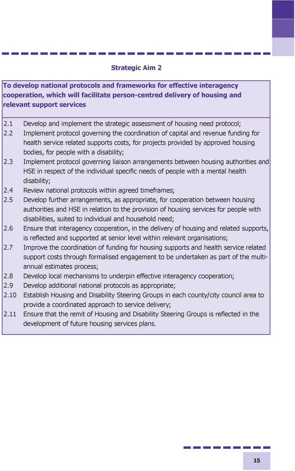 2 Implement protocol governing the coordination of capital and revenue funding for health service related supports costs, for projects provided by approved housing bodies, for people with a