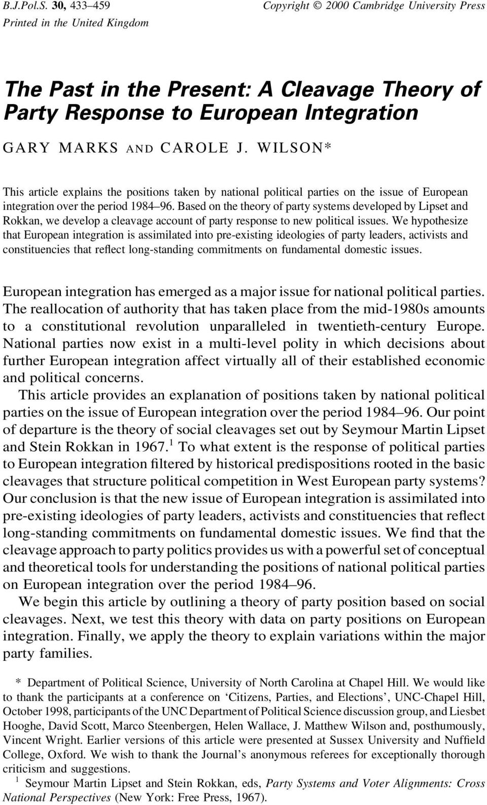 WILSON* This article explains the positions taken by national political parties on the issue of European integration over the period 1984 96.