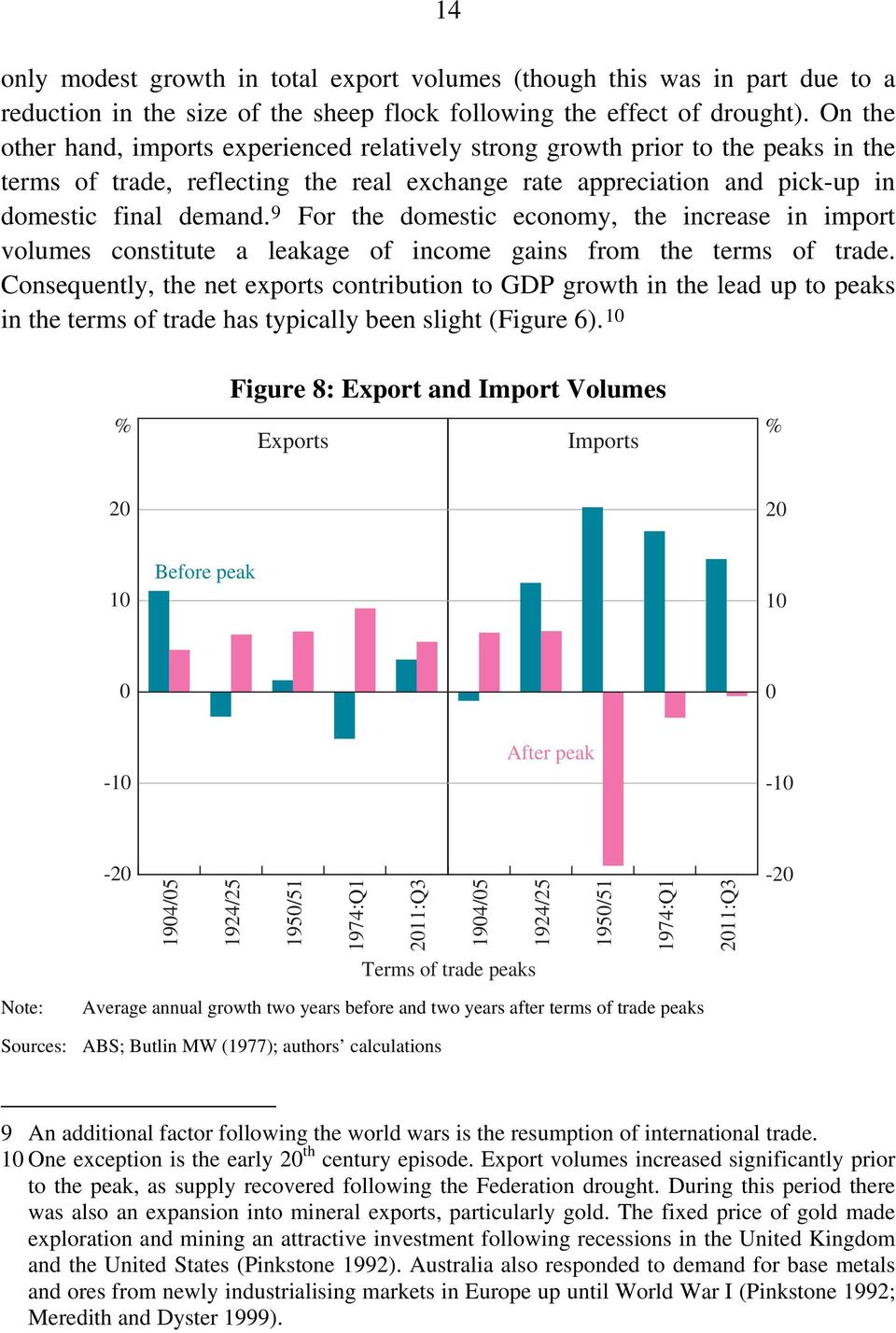 9 For the domestic economy, the increase in import volumes constitute a leakage of income gains from the terms of trade.