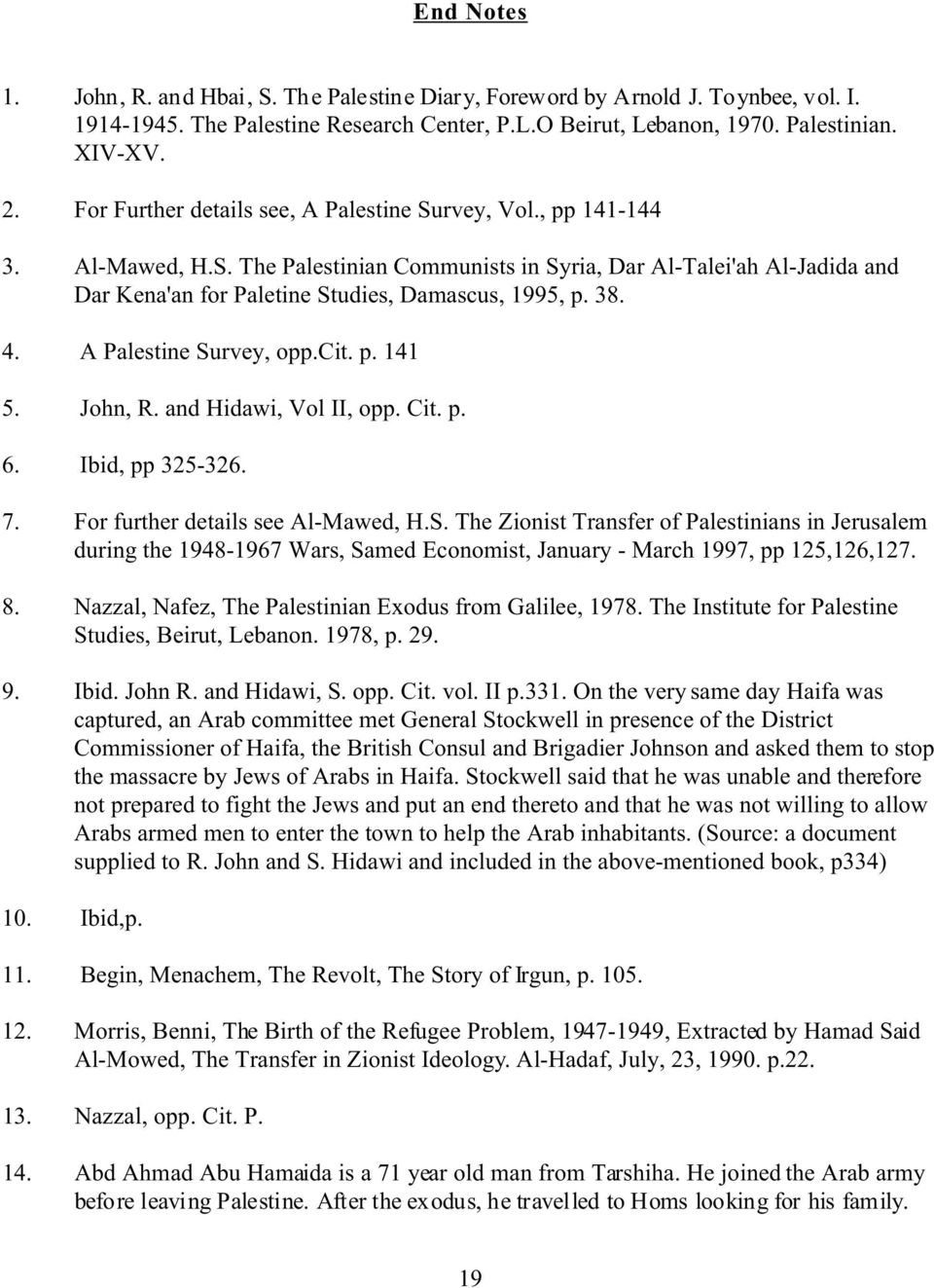 38. 4. A Palestine Survey, opp.cit. p. 141 5. John, R. and Hidawi, Vol II, opp. Cit. p. 6. Ibid, pp 325-326. 7. For further details see Al-Mawed, H.S. The Zionist Transfer of Palestinians in Jerusalem during the 1948-1967 Wars, Samed Economist, January - March 1997, pp 125,126,127.