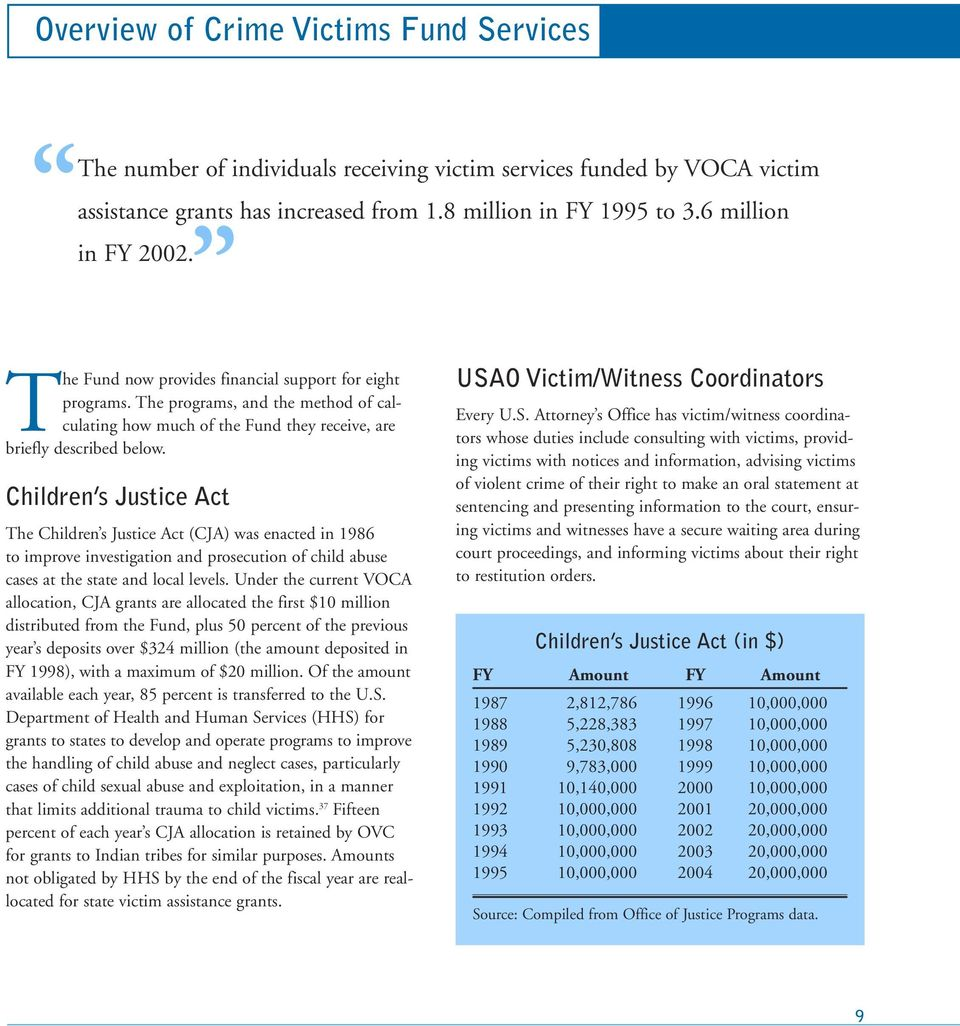 Children s Justice Act The Children s Justice Act (CJA) was enacted in 1986 to improve investigation and prosecution of child abuse cases at the state and local levels.