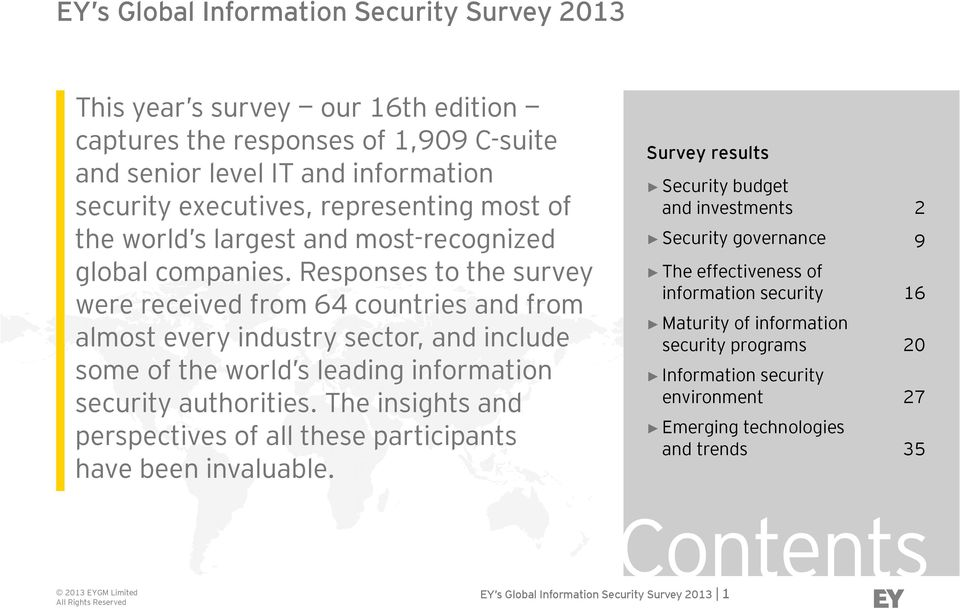 Responses to the survey were received from 64 countries and from almost every industry sector, and include some of the world s leading information security authorities.