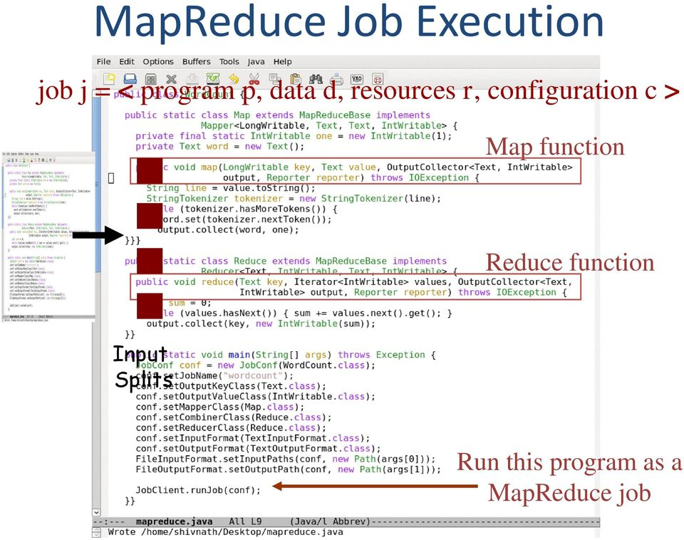 configuration c > Map function Reduce