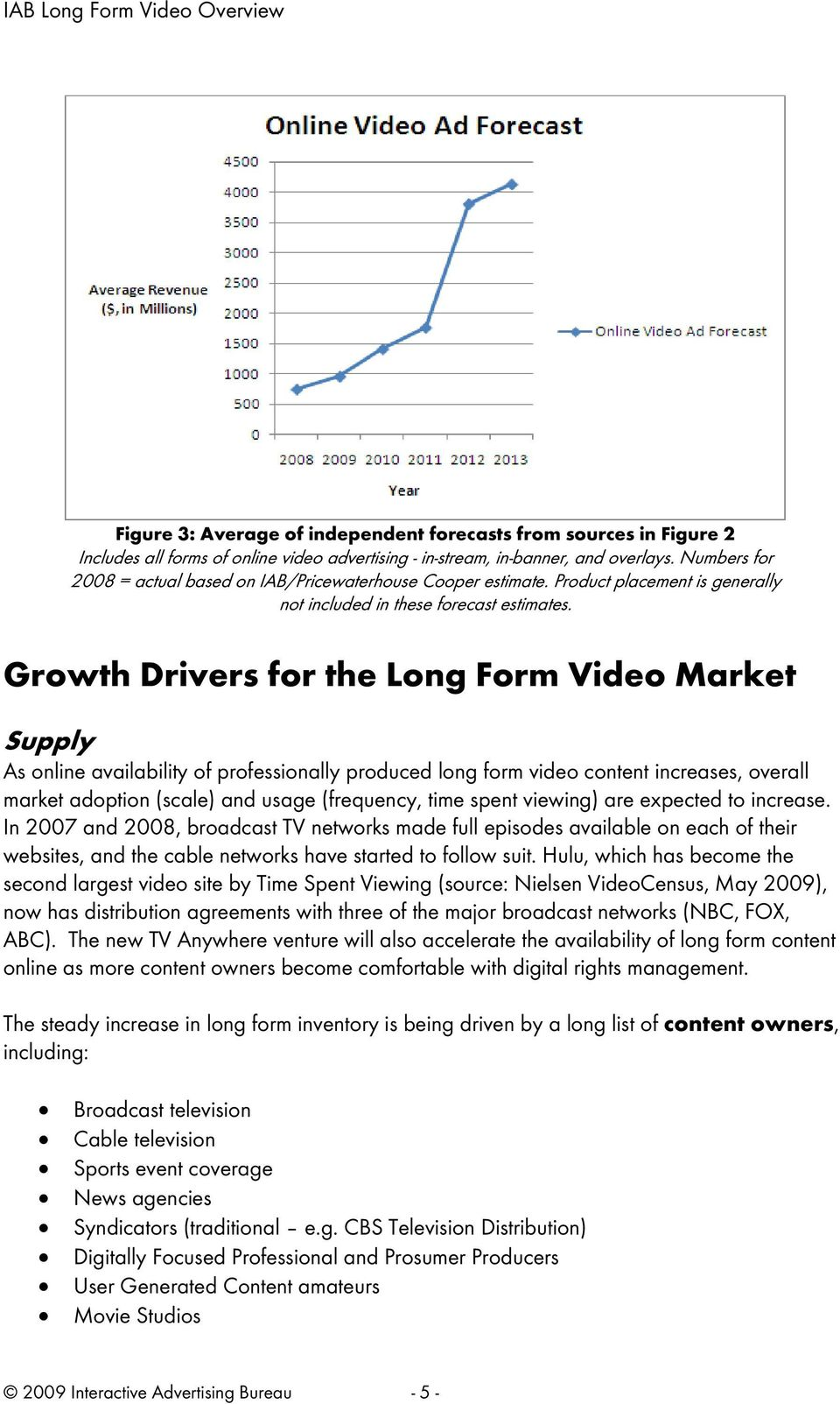 Growth Drivers for the Long Form Video Market Supply As online availability of professionally produced long form video content increases, overall market adoption (scale) and usage (frequency, time