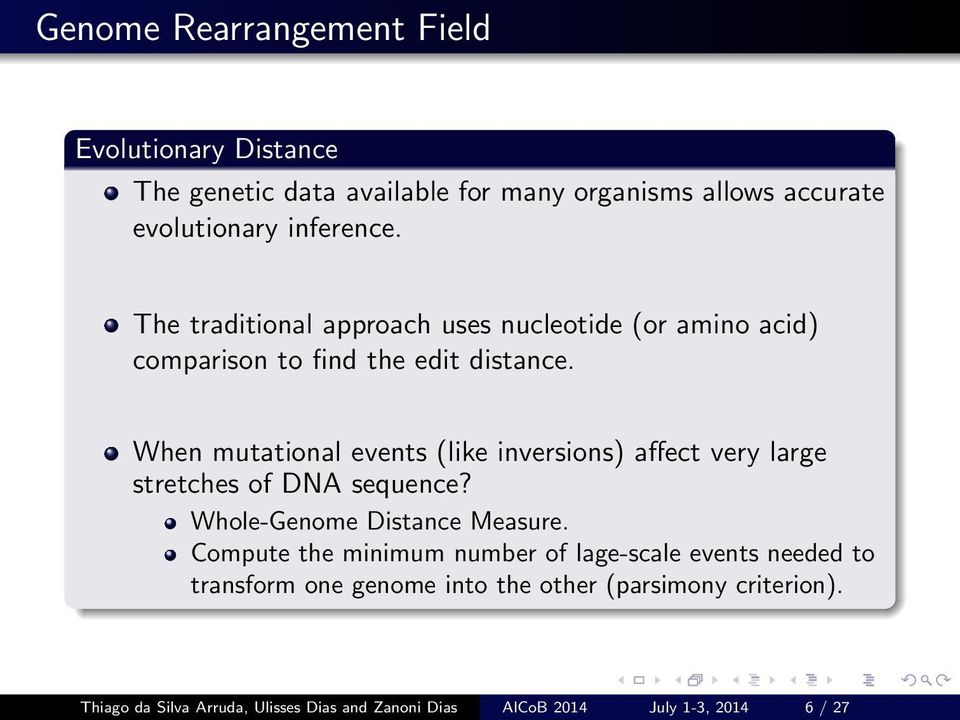 When mutational events (like inversions) affect very large stretches of DNA sequence? Whole-Genome Distance Measure.