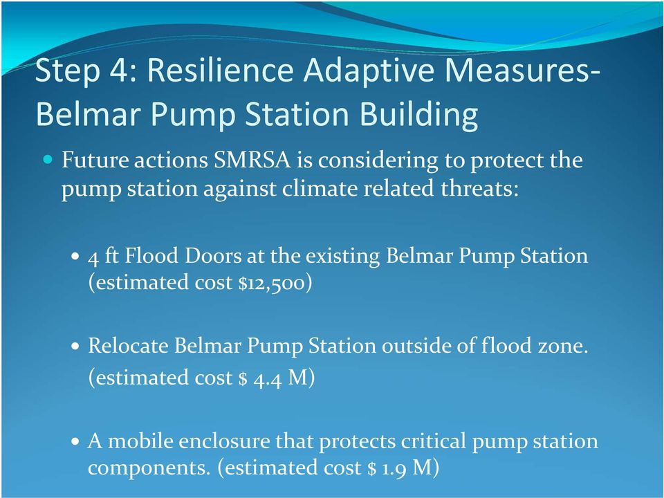 Pump Station (estimated cost $12,500) Relocate Belmar Pump Station outside of flood zone.