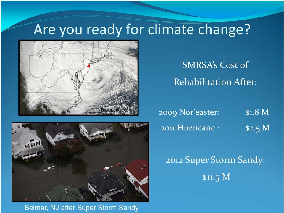 com 2009 Nor'easter: $1.8 M 2011 Hurricane : $2.