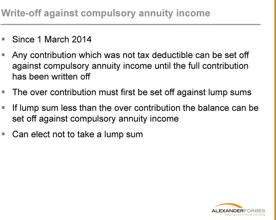 written off The over contribution must first be set off against lump sums If lump sum less than the