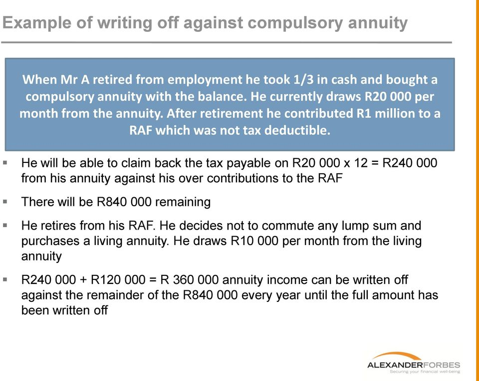 He will be able to claim back the tax payable on R20 000 x 12 = R240 000 from his annuity against his over contributions to the RAF There will be R840 000 remaining He retires from his RAF.