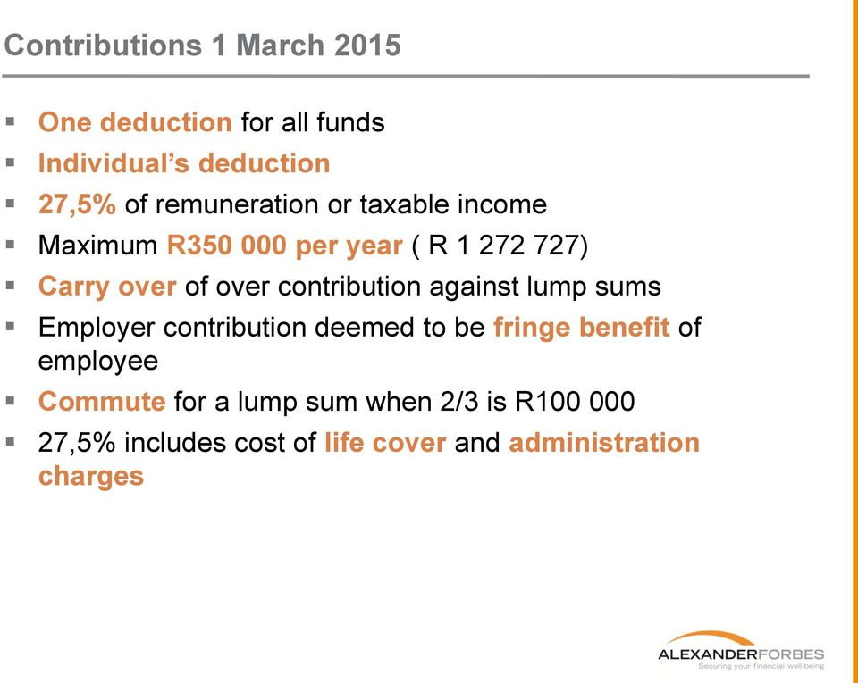 contribution against lump sums Employer contribution deemed to be fringe benefit of employee