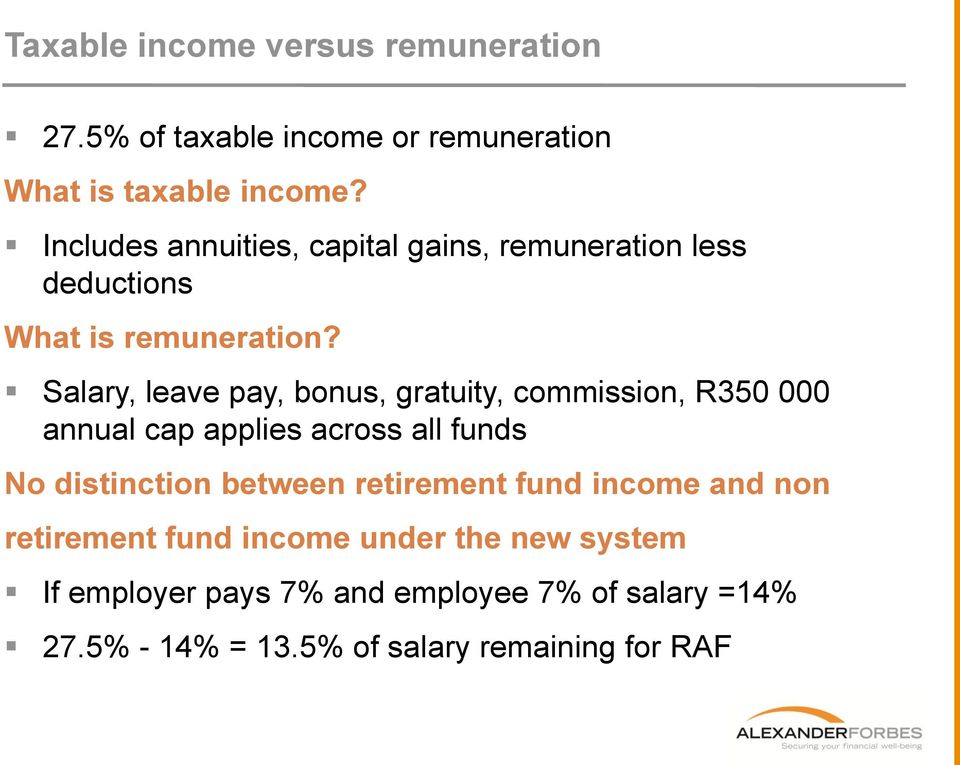 Salary, leave pay, bonus, gratuity, commission, R350 000 annual cap applies across all funds No distinction between