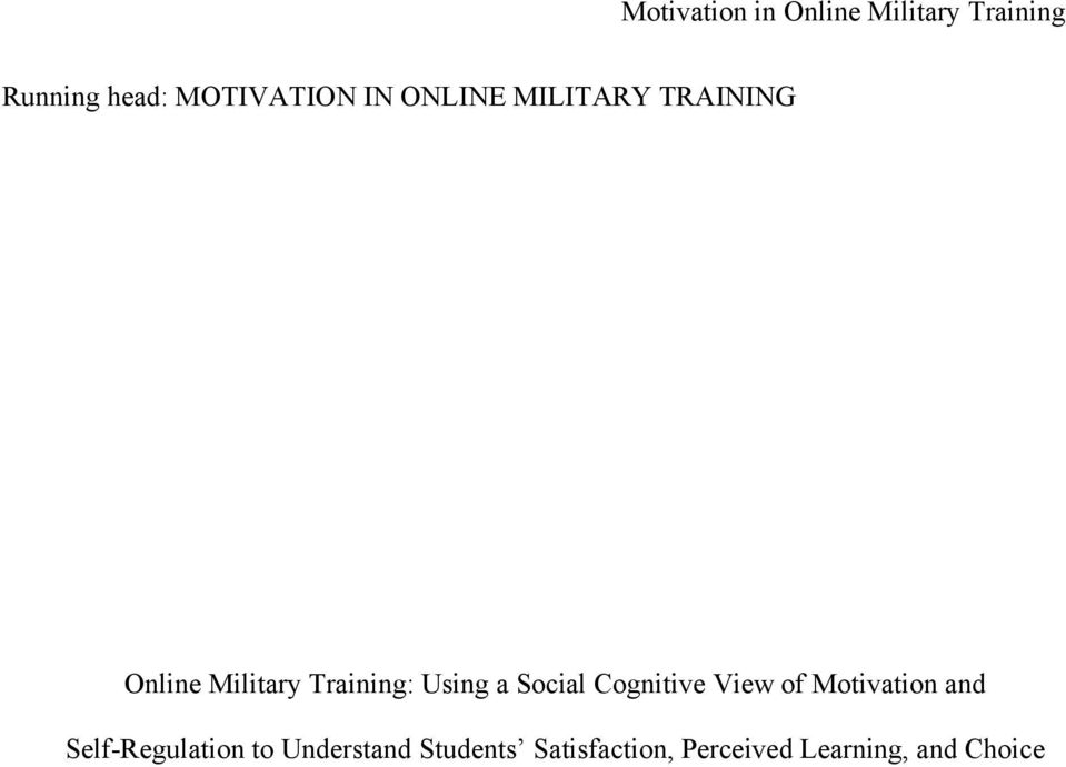 Training: Using a Social Cognitive View of Motivation and