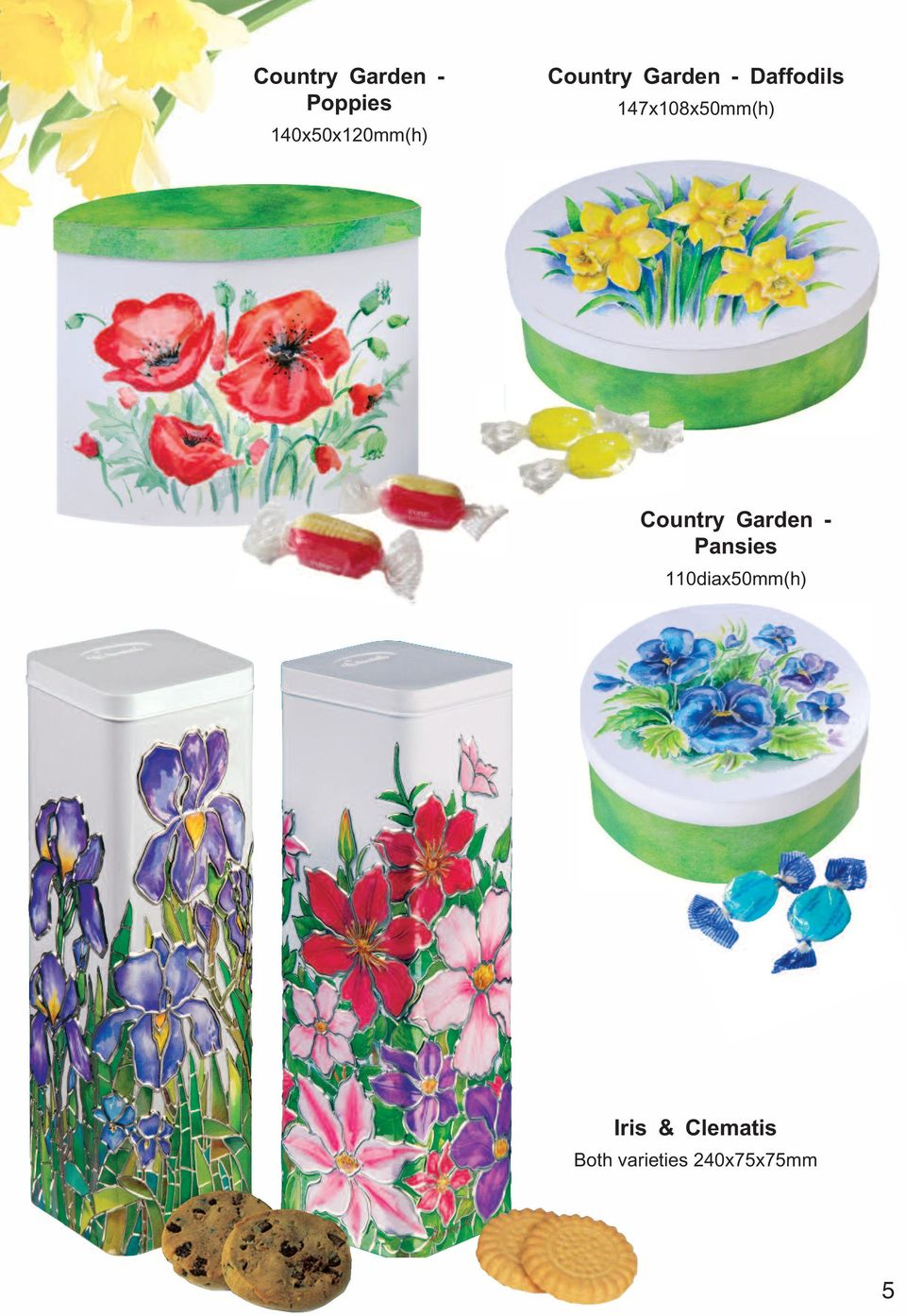 147x108x50mm(h) Country Garden - Pansies