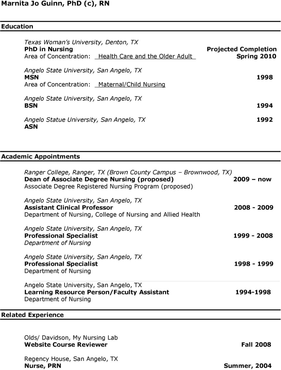 Nursing (proposed) 2009 now Associate Degree Registered Nursing Program (proposed) Assistant Clinical Professor 2008-2009 Department of Nursing, College of Nursing and Allied Health Professional