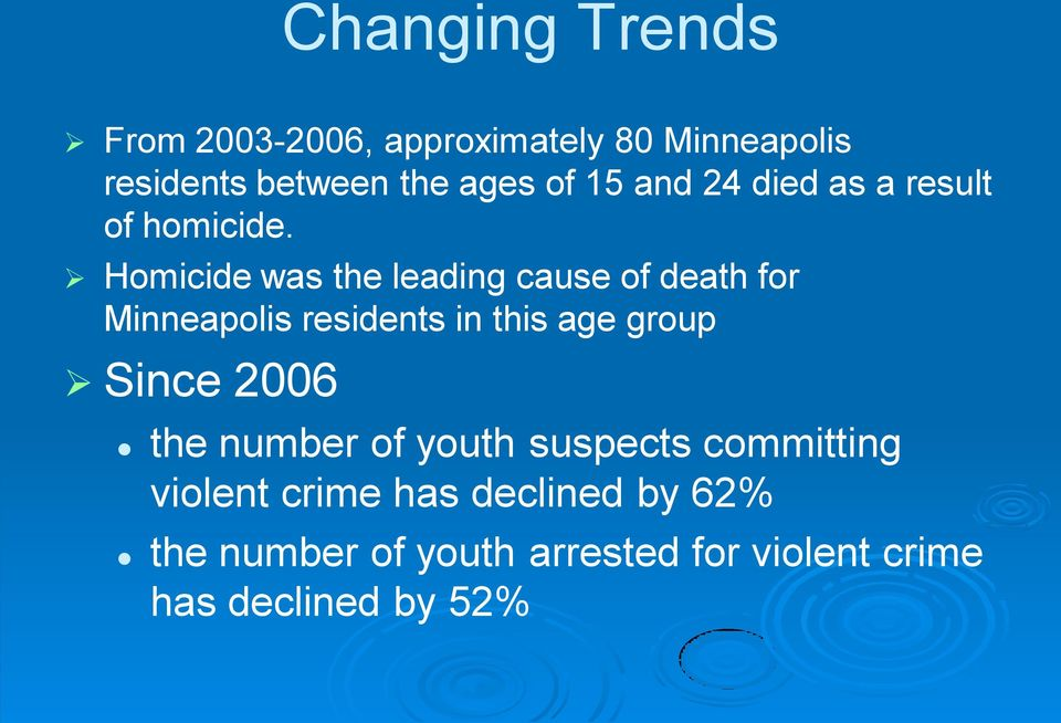 Homicide was the leading cause of death for Minneapolis residents in this age group Since