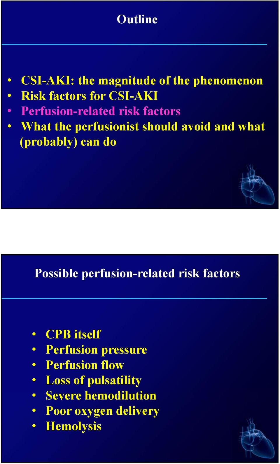 (probably) bl can do Possible perfusion-related risk factors CPB itself Perfusion