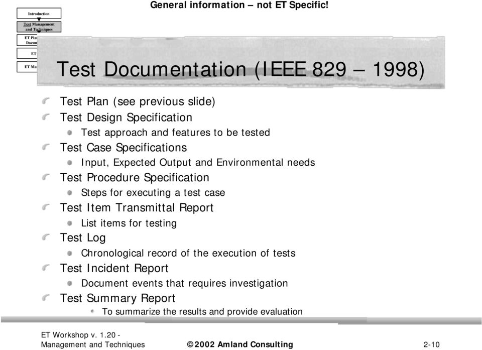 Specifications Input, Expected Output and Environmental needs Test Procedure Specification Steps for executing a test case Test Item