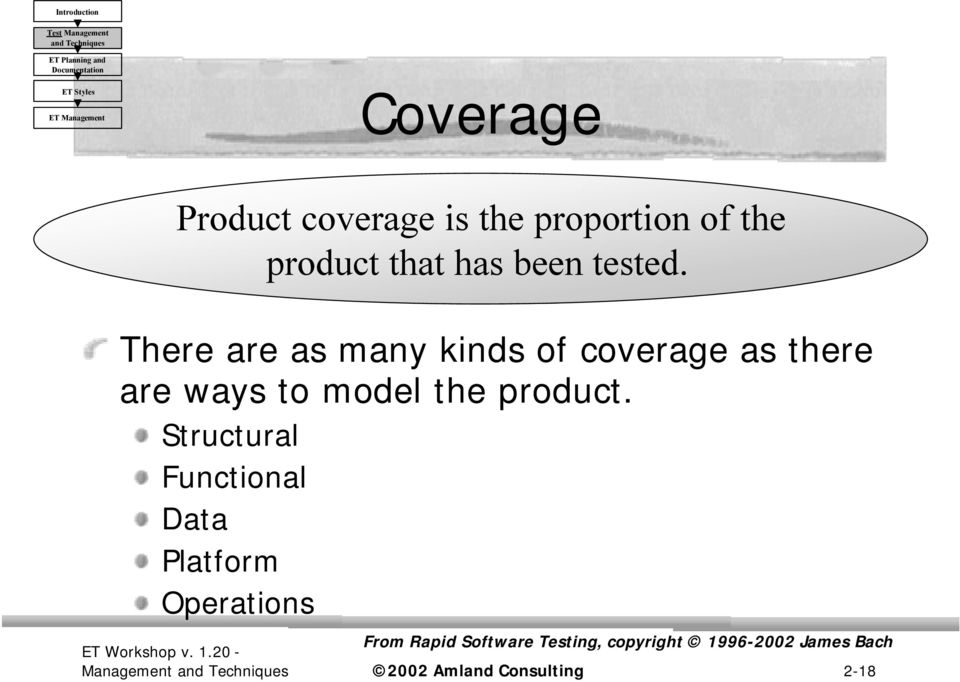 There are as many kinds of coverage as there are ways to model the product.