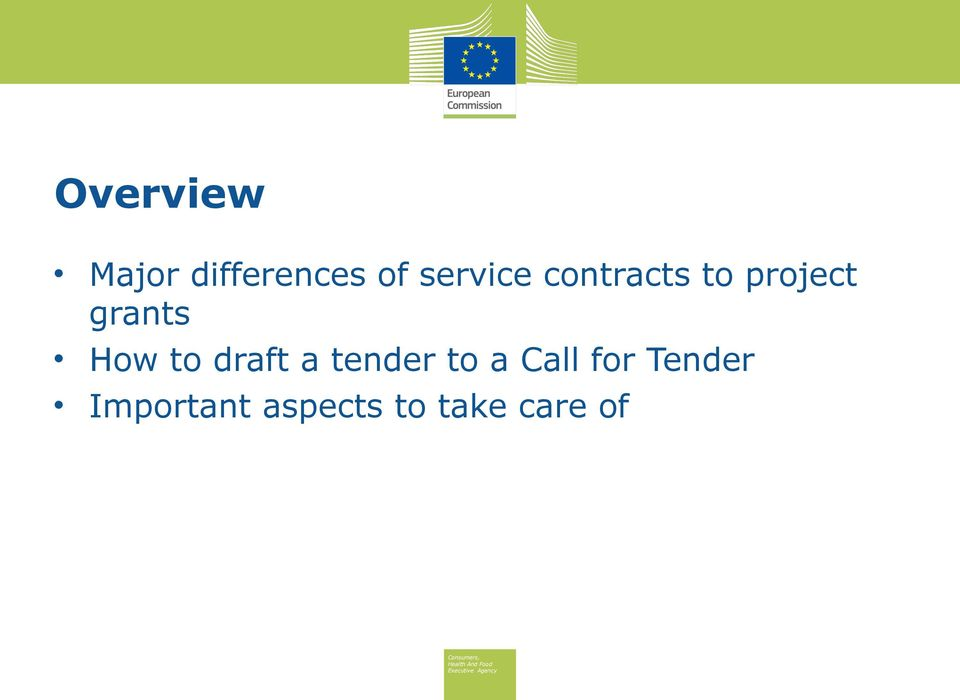 How to draft a tender to a Call for