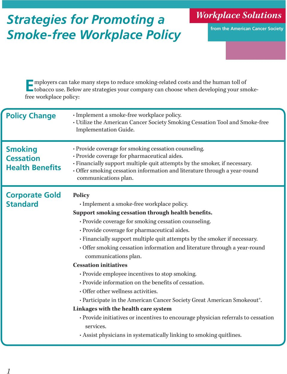 policy. Utilize the American Cancer Society Smoking Cessation Tool and Smoke-free Implementation Guide. Provide coverage for smoking cessation counseling. Provide coverage for pharmaceutical aides.