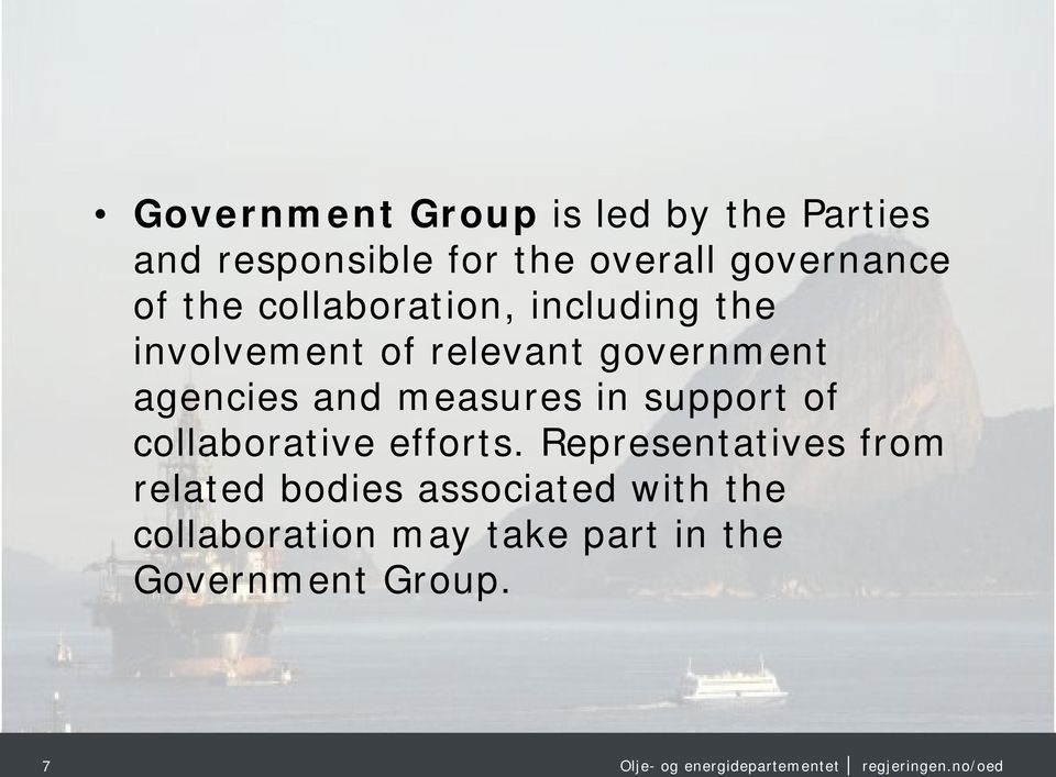 government agencies and measures in support of collaborative efforts.