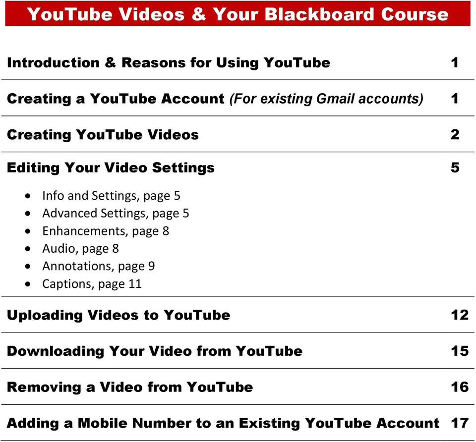 Settings, page 5 Enhancements, page 8 Audio, page 8 Annotations, page 9 Captions, page 11 Uploading Videos to YouTube 12