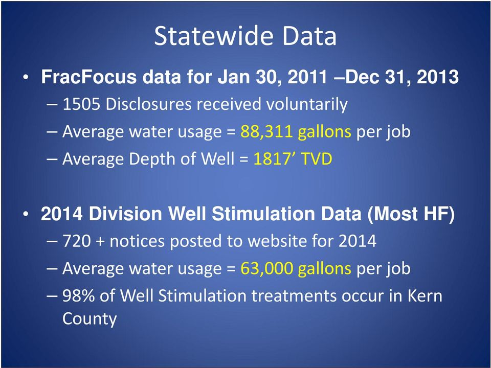 2014 Division Well Stimulation Data (Most HF) 720 + notices posted to website for 2014