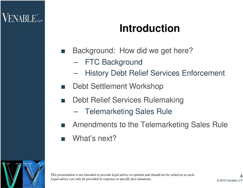 Settlement Workshop Debt Relief Services Rulemaking
