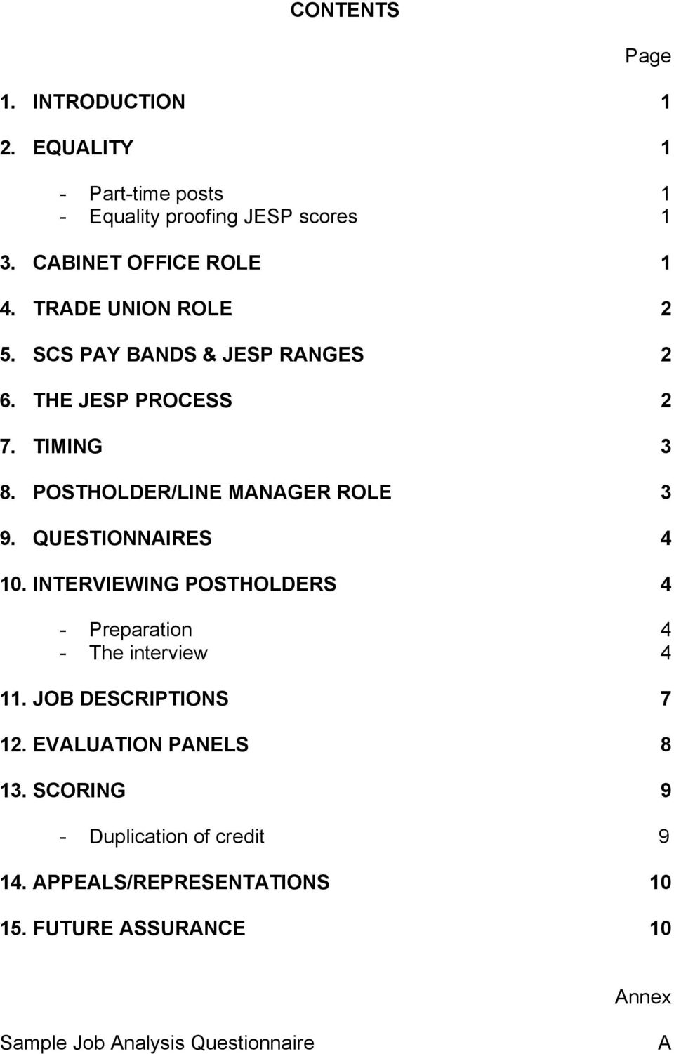 QUESTIONNAIRES 4 10. INTERVIEWING POSTHOLDERS 4 - Preparation 4 - The interview 4 11. JOB DESCRIPTIONS 7 12.