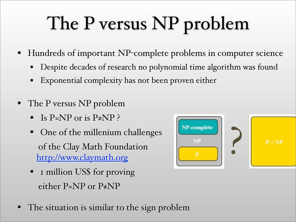 versus NP problem Is P=NP or is P NP?
