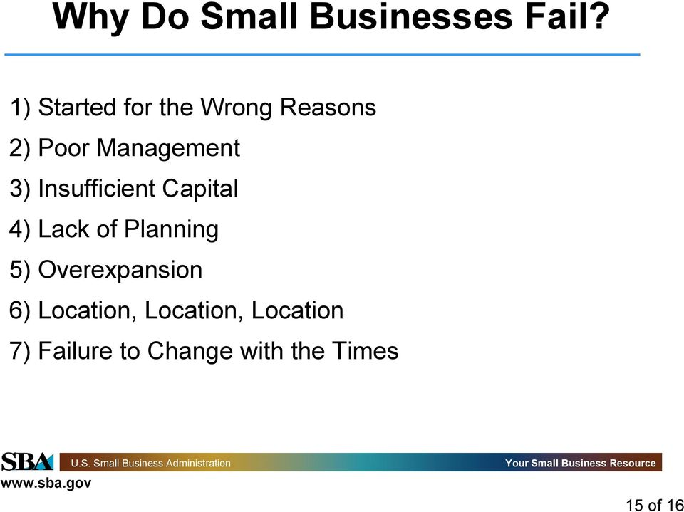 Insufficient Capital 4) Lack of Planning 5)