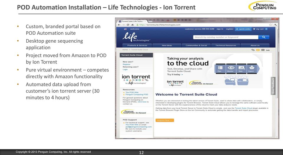 Amazon to POD by Ion Torrent Pure virtual environment competes directly with Amazon