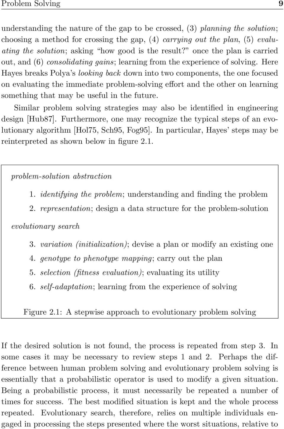 Here Hayes breaks Polya s looking back down into two components, the one focused on evaluating the immediate problem-solving effort and the other on learning something that may be useful in the