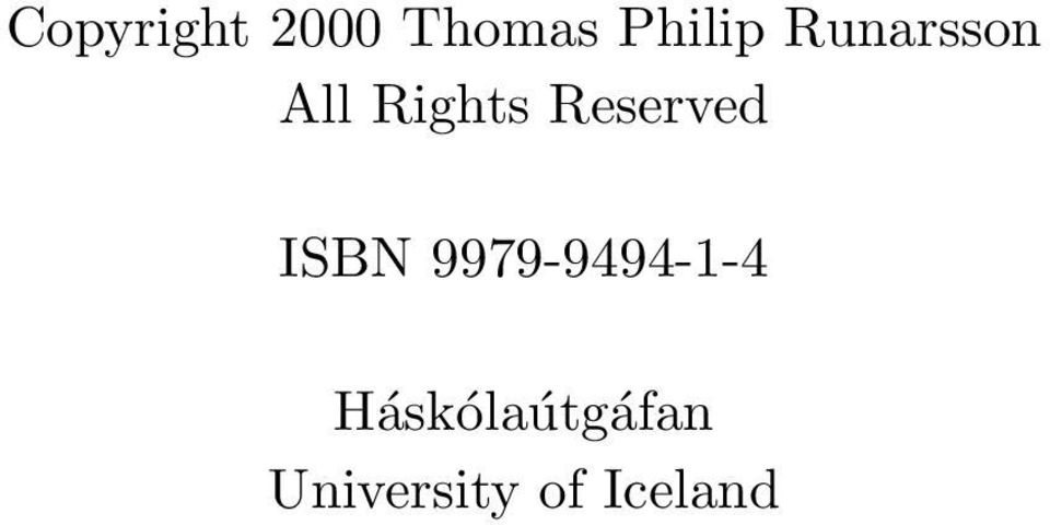 Reserved ISBN 9979-9494-1-4