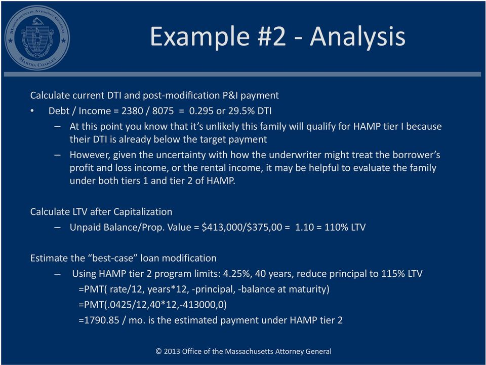 might treat the borrower s profit and loss income, or the rental income, it may be helpful to evaluate the family under both tiers 1 and tier 2 of HAMP.