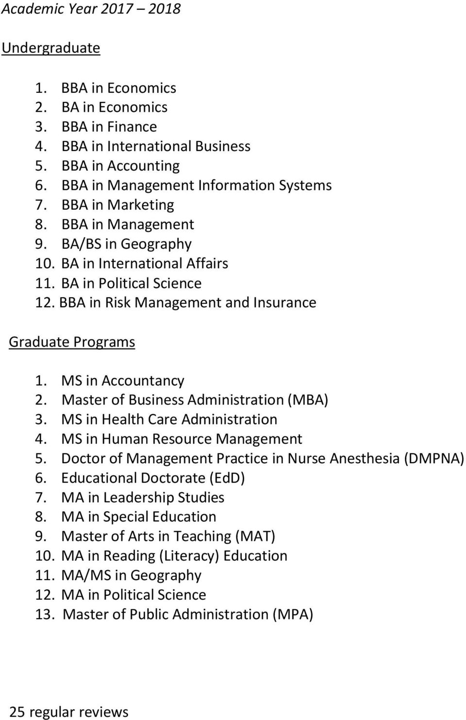 Master of Business Administration (MBA) 3. MS in Health Care Administration 4. MS in Human Resource Management 5. Doctor of Management Practice in Nurse Anesthesia (DMPNA) 6.