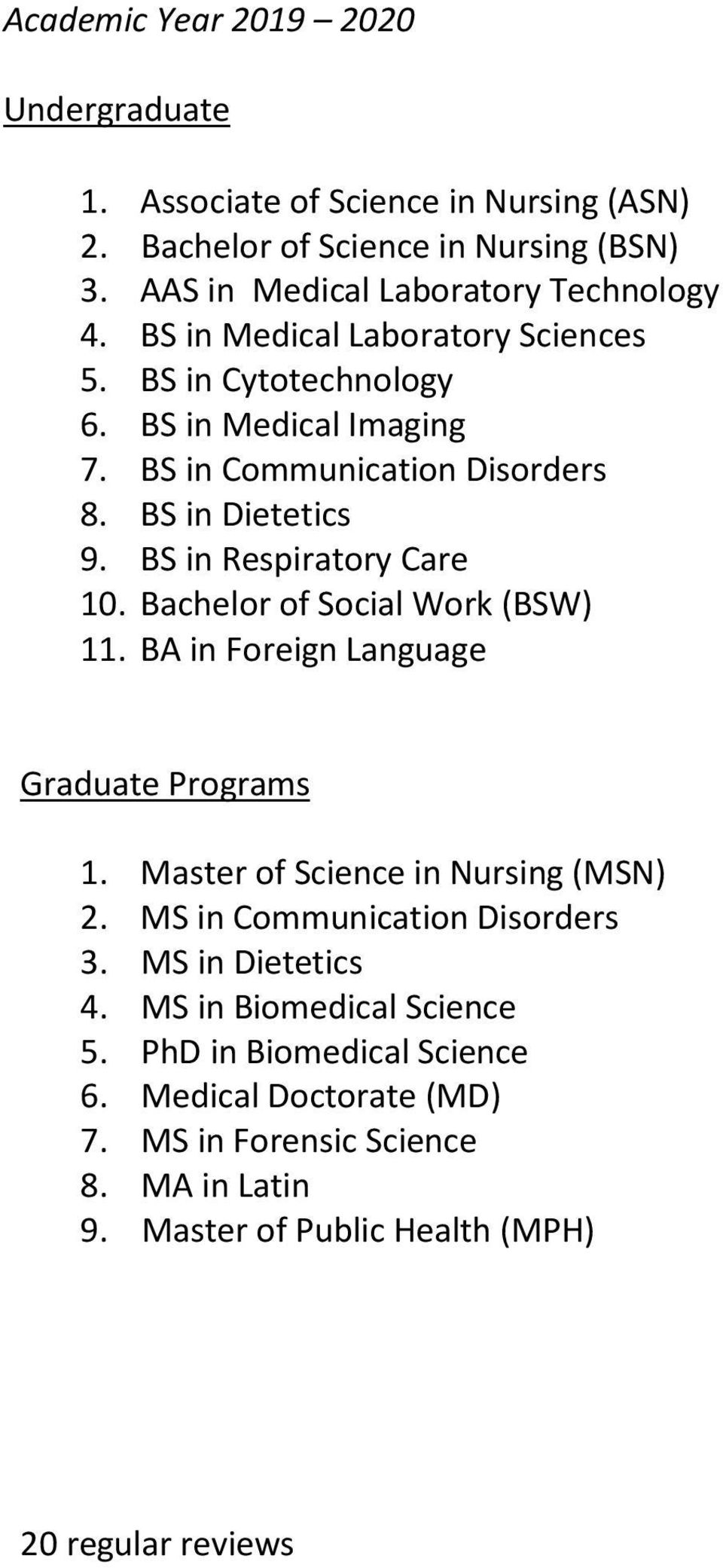 BS in Respiratory Care 10. Bachelor of Social Work (BSW) 11. BA in Foreign Language 1. Master of Science in Nursing (MSN) 2. MS in Communication Disorders 3.