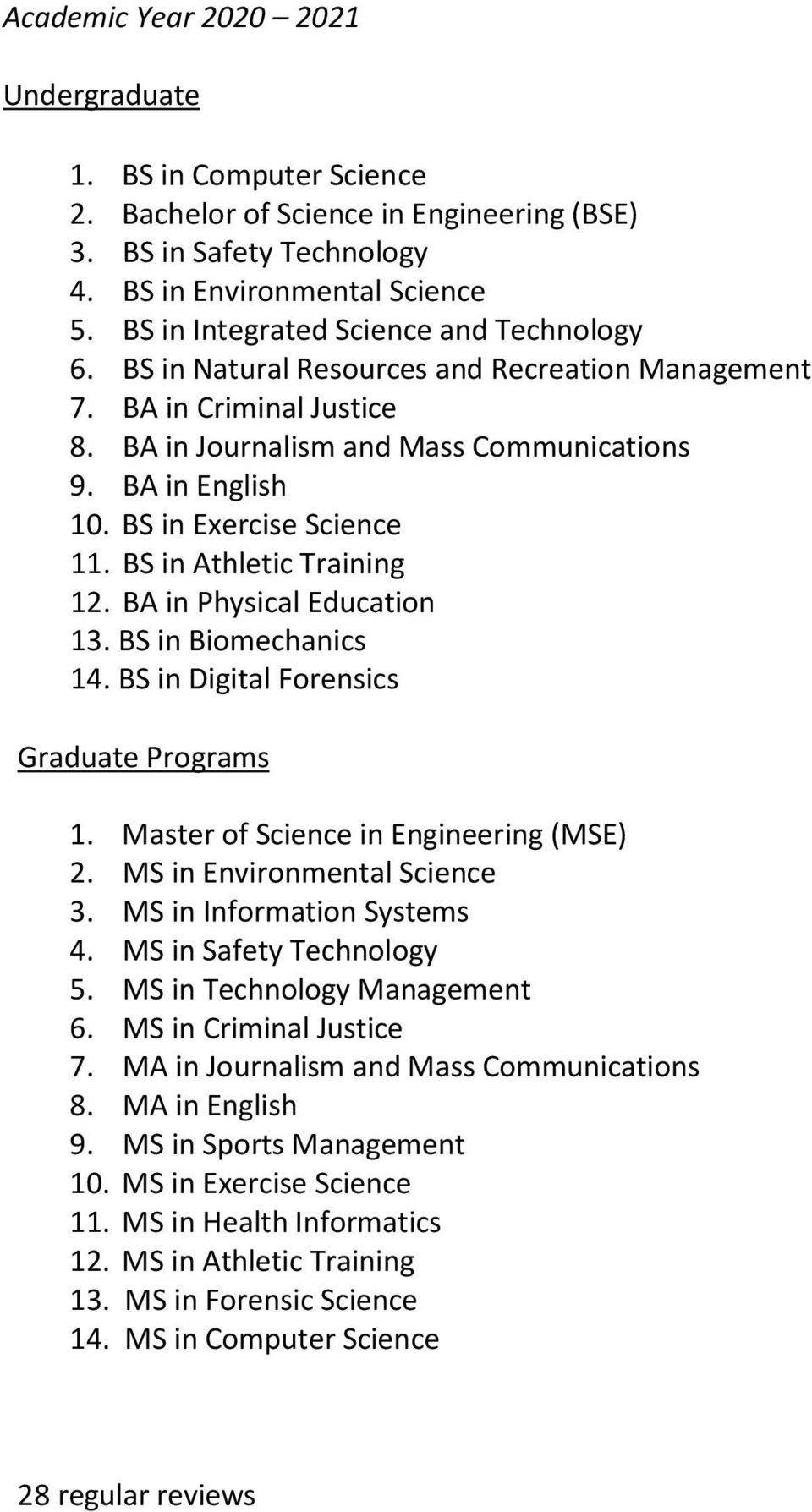 BA in Physical Education 13. BS in Biomechanics 14. BS in Digital Forensics 1. Master of Science in Engineering (MSE) 2. MS in Environmental Science 3. MS in Information Systems 4.