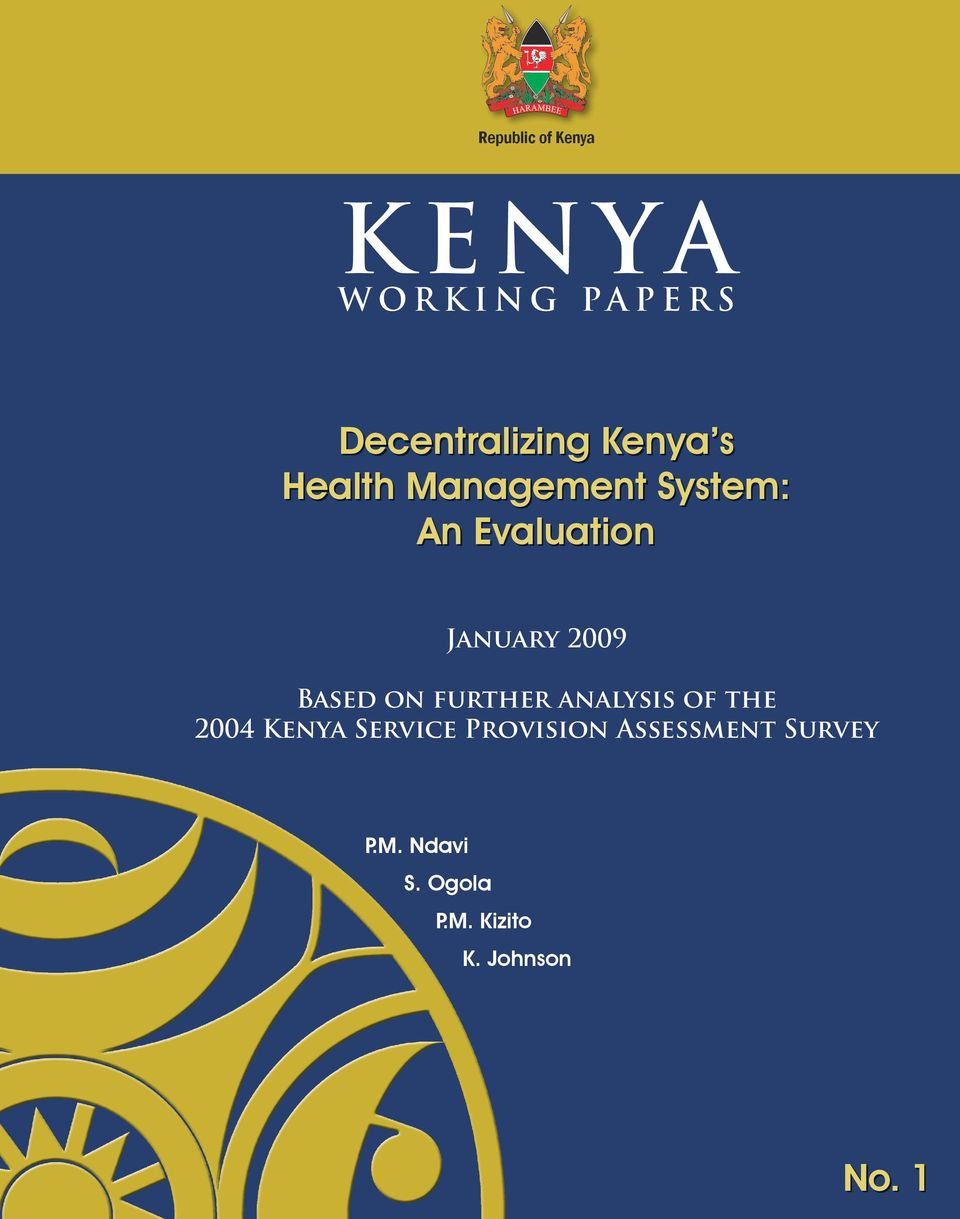on further analysis of the 2004 Kenya Service Provision