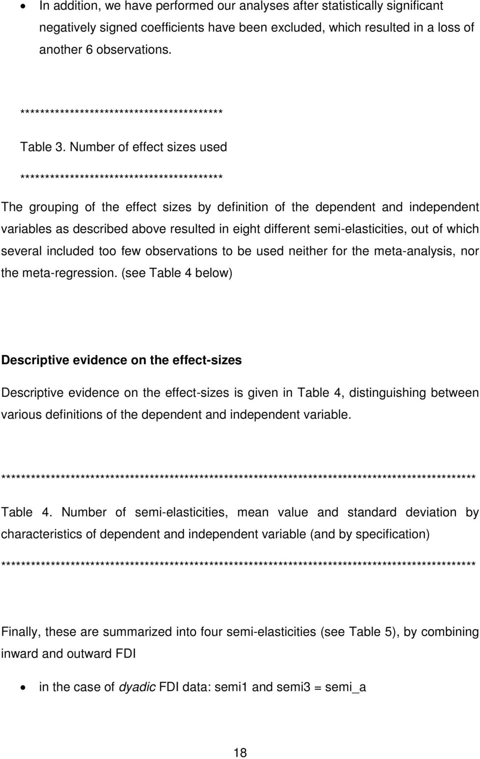 Number of effect sizes used ***************************************** The grouping of the effect sizes by definition of the dependent and independent variables as described above resulted in eight