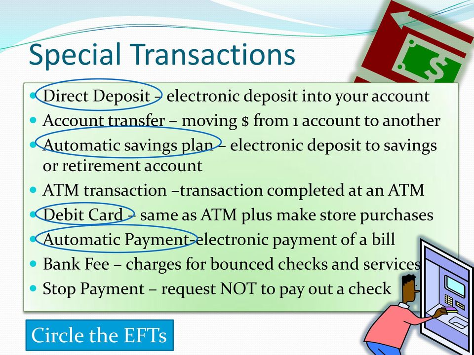 transaction completed at an ATM Debit Card same as ATM plus make store purchases Automatic Payment-electronic