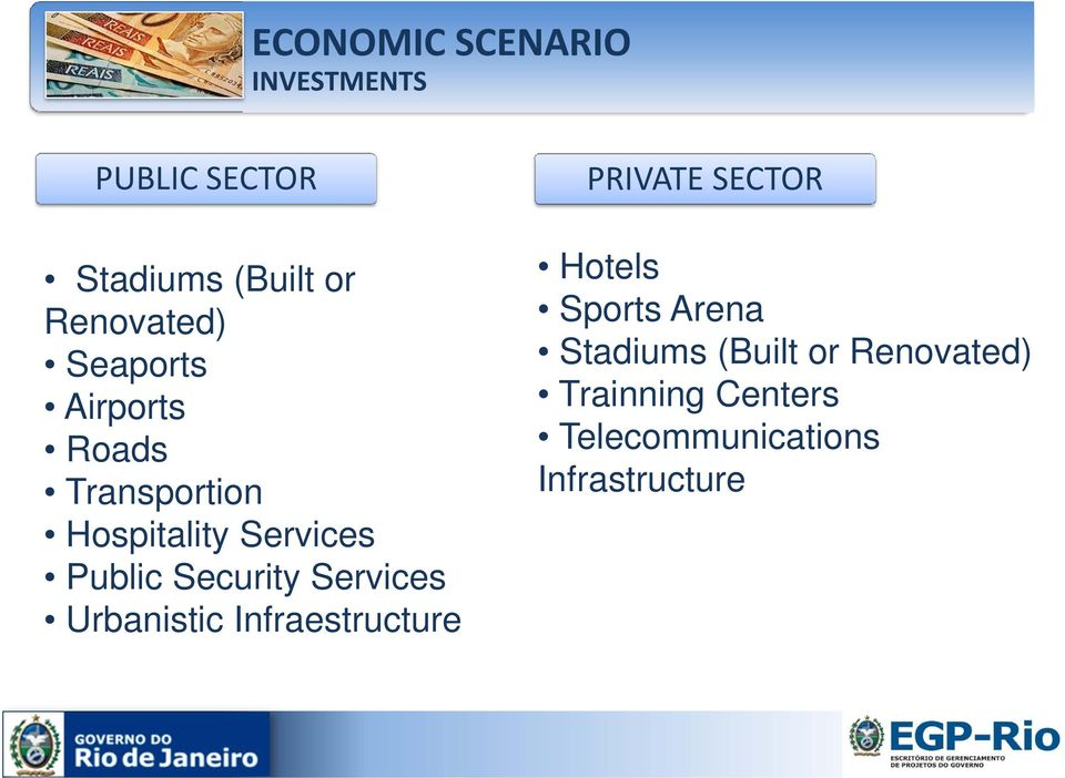 Services Urbanistic Infraestructure PRIVATE SECTOR Hotels Sports Arena