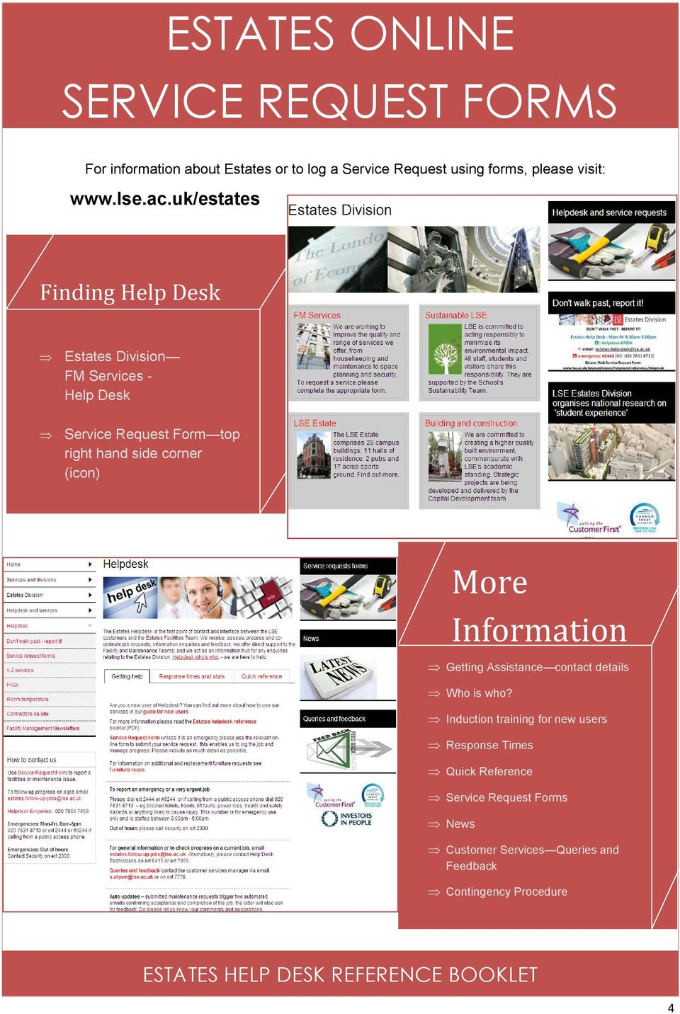 uk/estates Finding Help Desk Estates Division FM Services Help Desk Service Request Form top right hand side corner