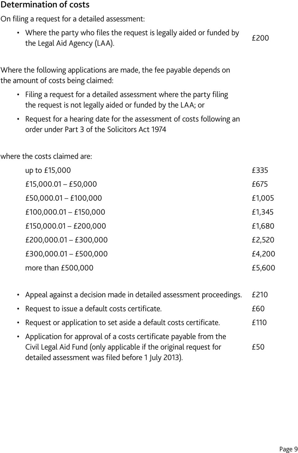 legally aided or funded by the LAA; or Request for a hearing date for the assessment of costs following an order under Part 3 of the Solicitors Act 1974 where the costs claimed are: up to 15,000 335