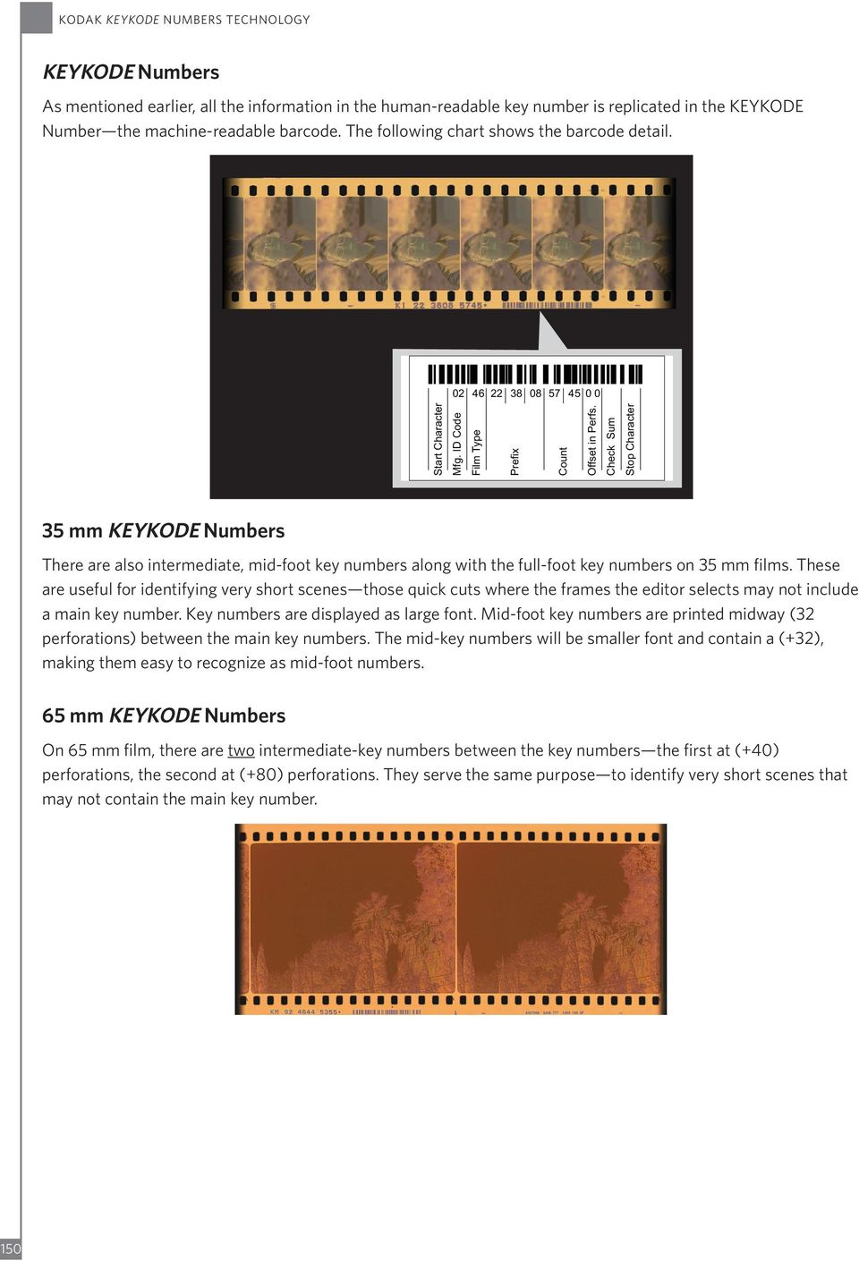 Check Sum Stop Character 35 mm KEYKODE Numbers There are also intermediate, mid-foot key numbers along with the full-foot key numbers on 35 mm films.