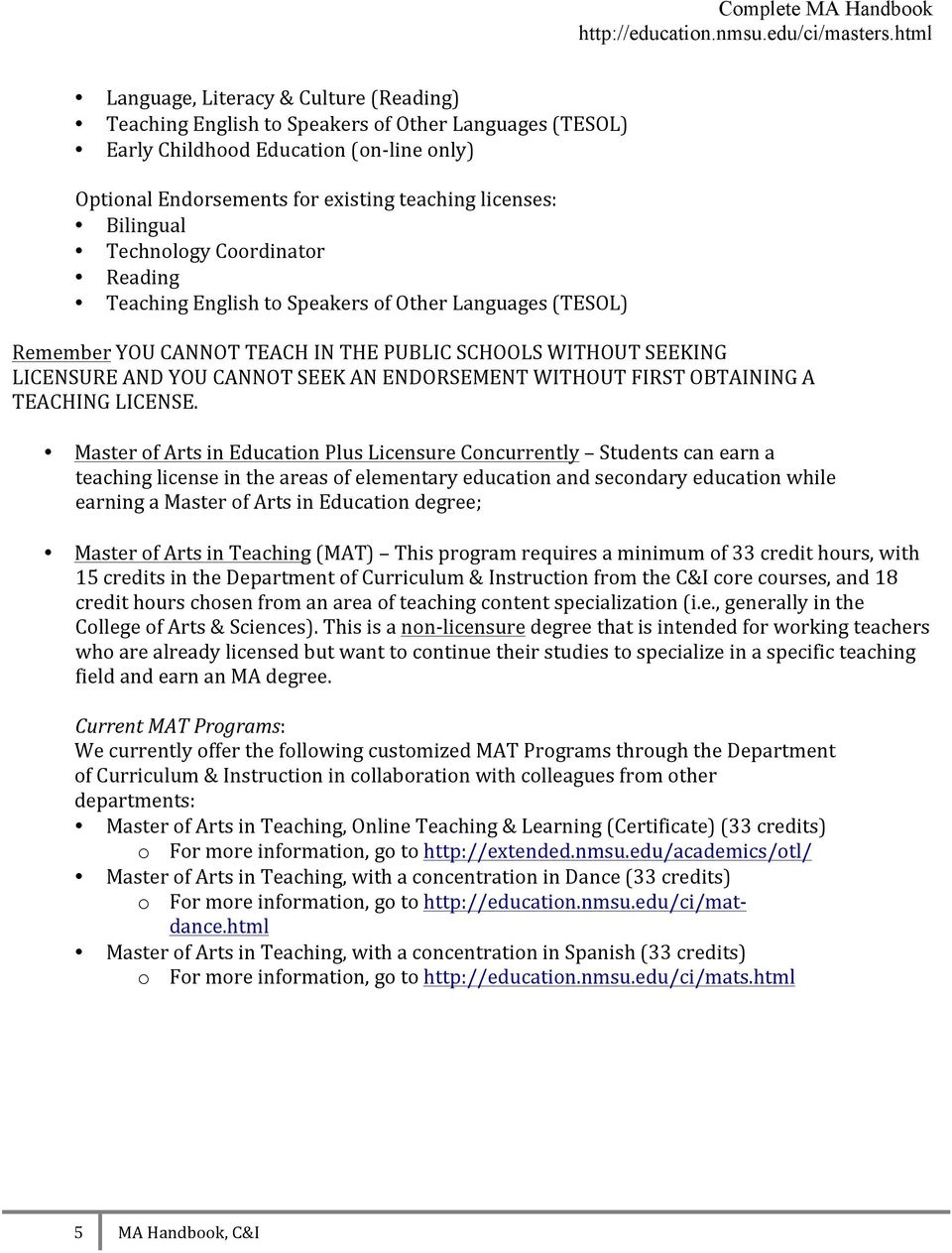 Ma Handbook Master S Degree Programs In The Department Of Curriculum