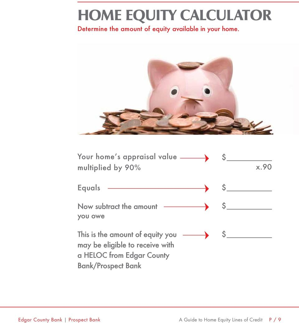 90 Equals $ Now subtract the amount you owe $ This is the amount of equity you may