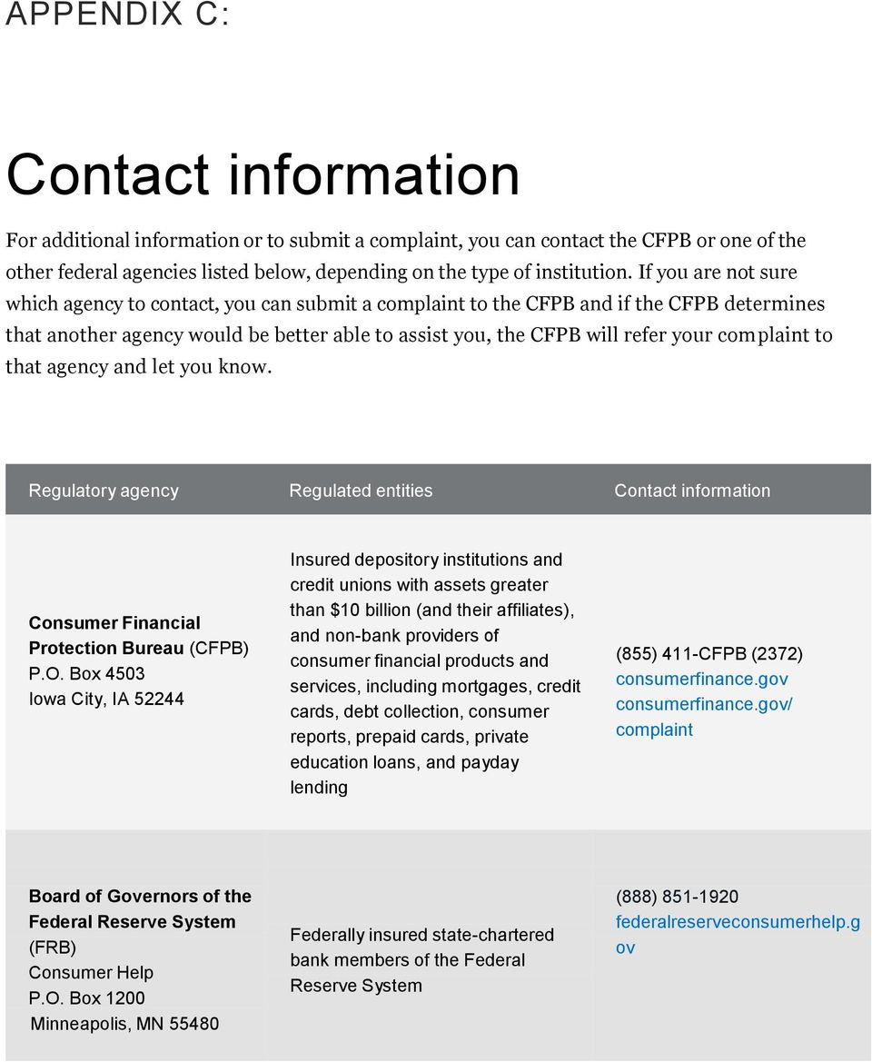plaint to that agency and let you know. Regulatory agency Regulated entities Contact information Consumer Financial Protection Bureau (CFPB) P.O.